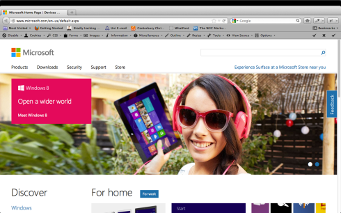 Image of Microsoft website 2012